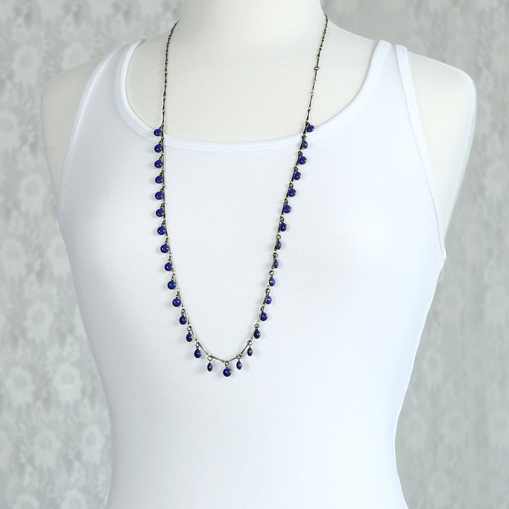 "36"" Vintage Enamel Dot Necklace - Blue"