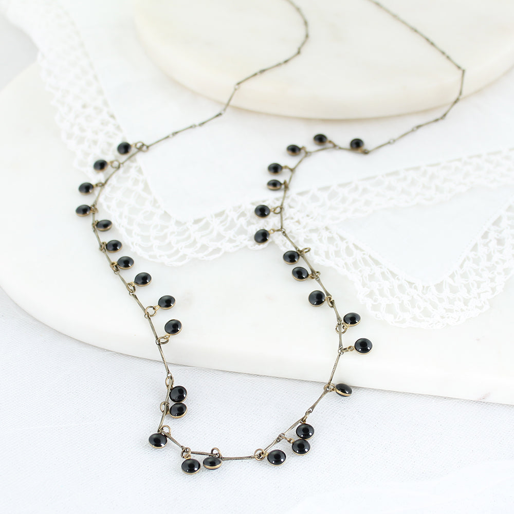 "36"" Vintage Enamel Dot Necklace - Black"