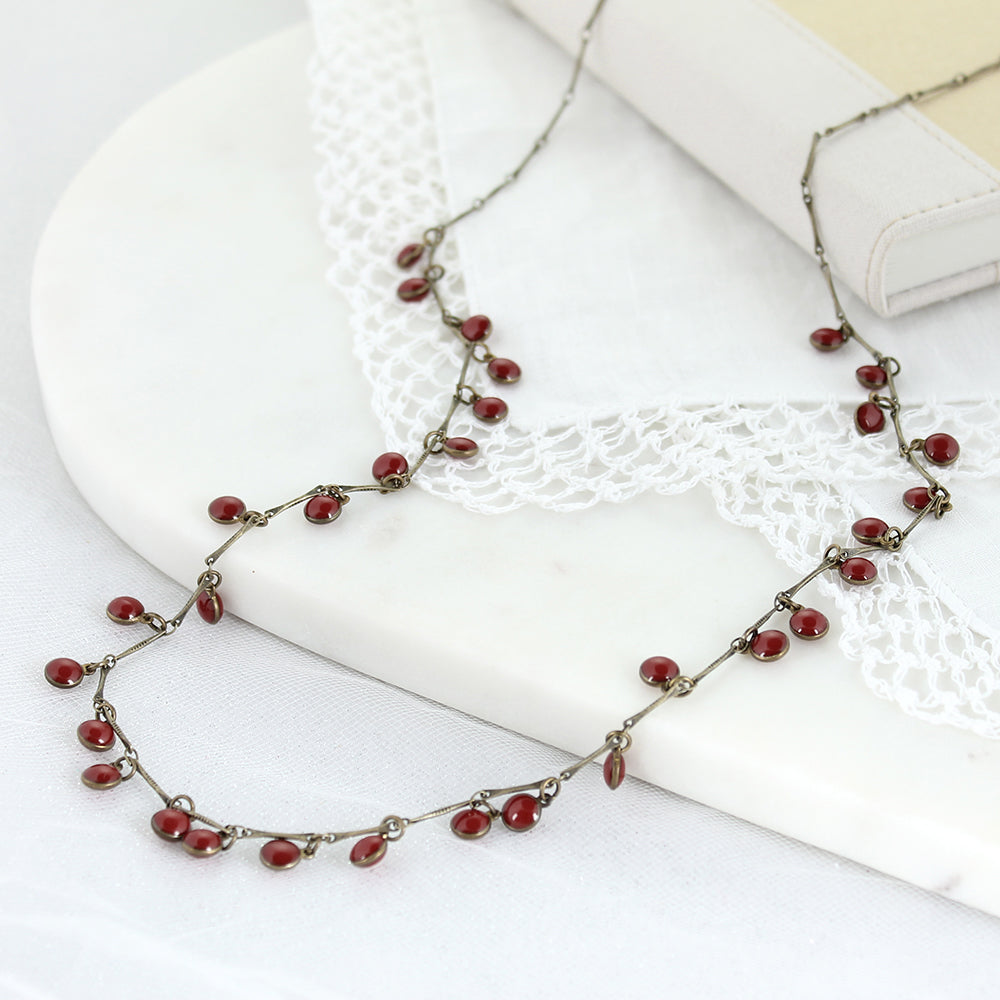 "36"" Vintage Enamel Dot Necklace - Crimson"