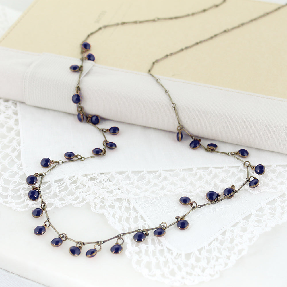 "36"" Vintage Enamel Dot Necklace - Navy"