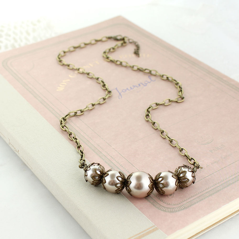 "24"" Graduated Blush Pearl Necklace"