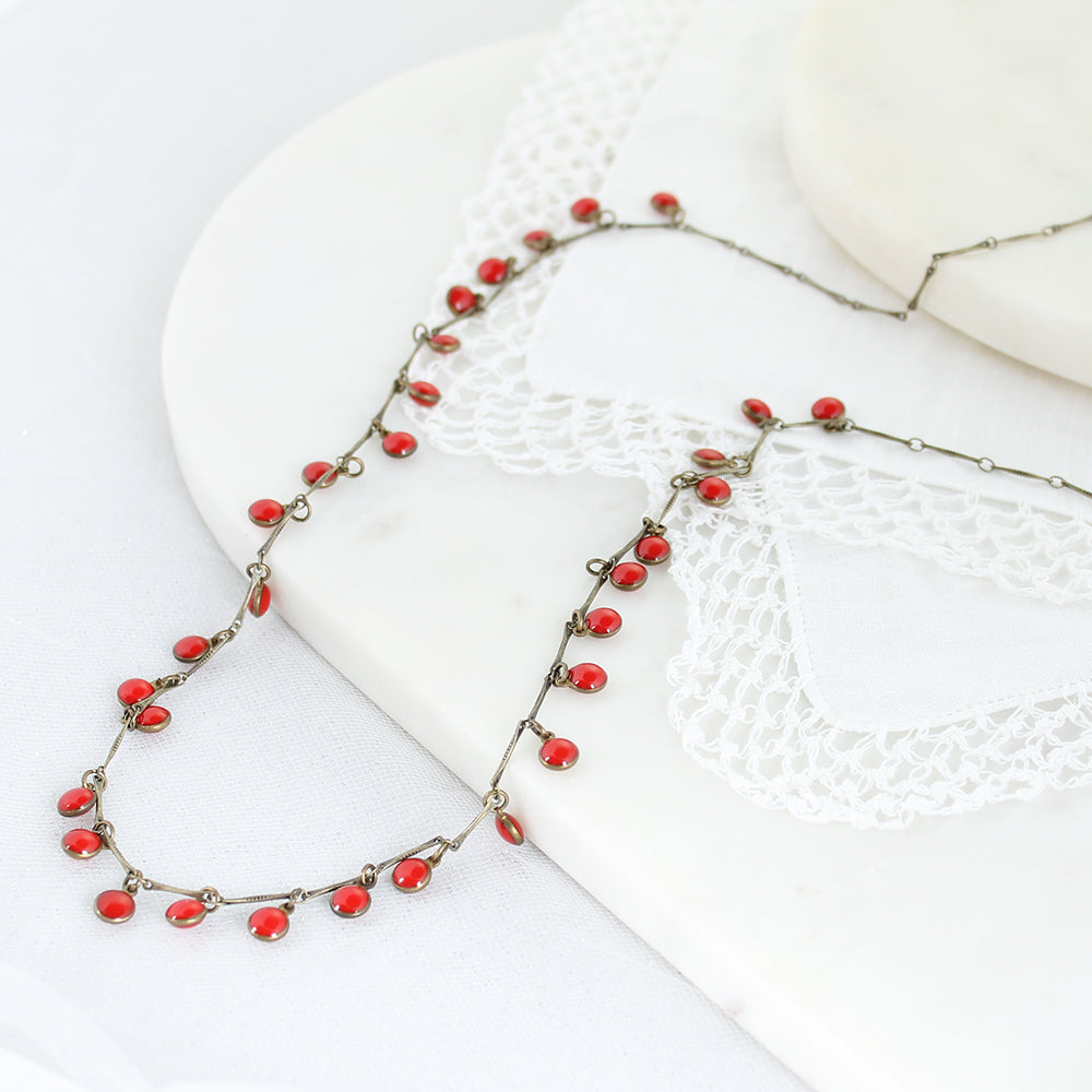 "36"" Vintage Enamel Dot Necklace - Red"