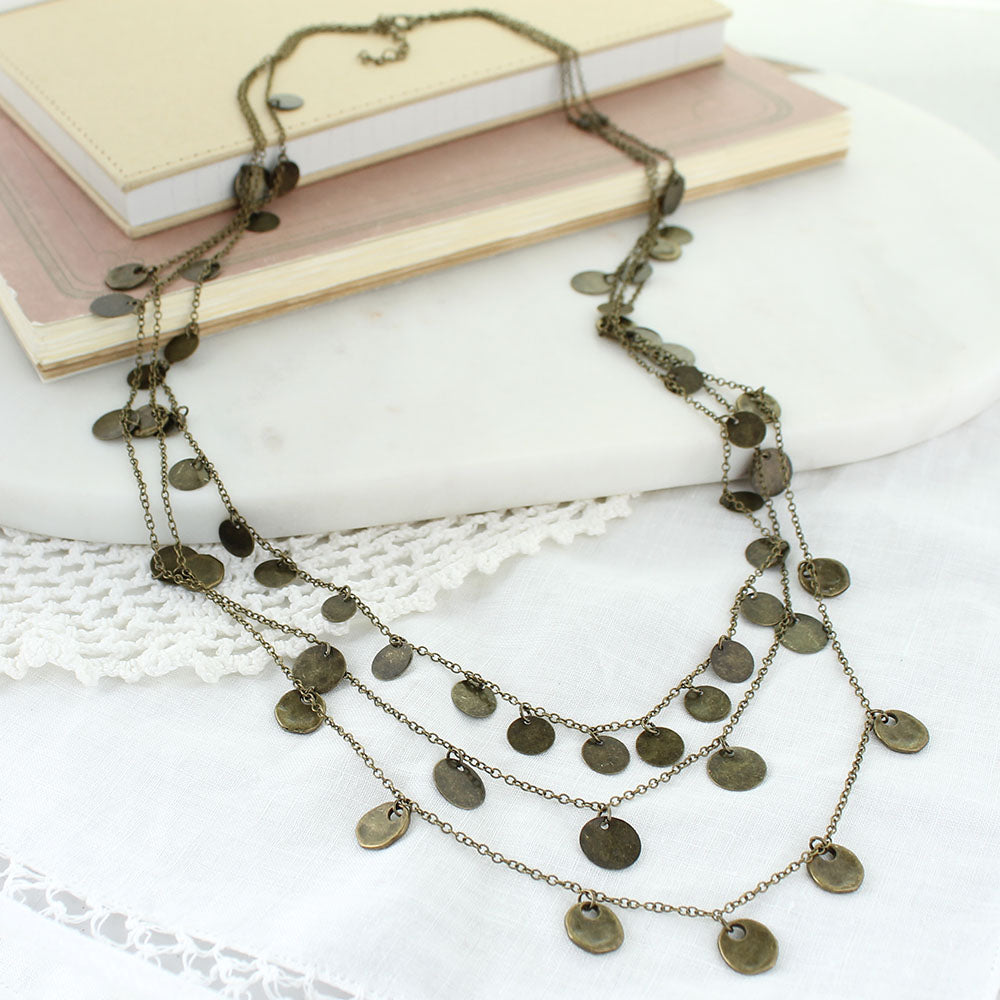 "28-34"" Layered Vintage Style Disc Necklace"