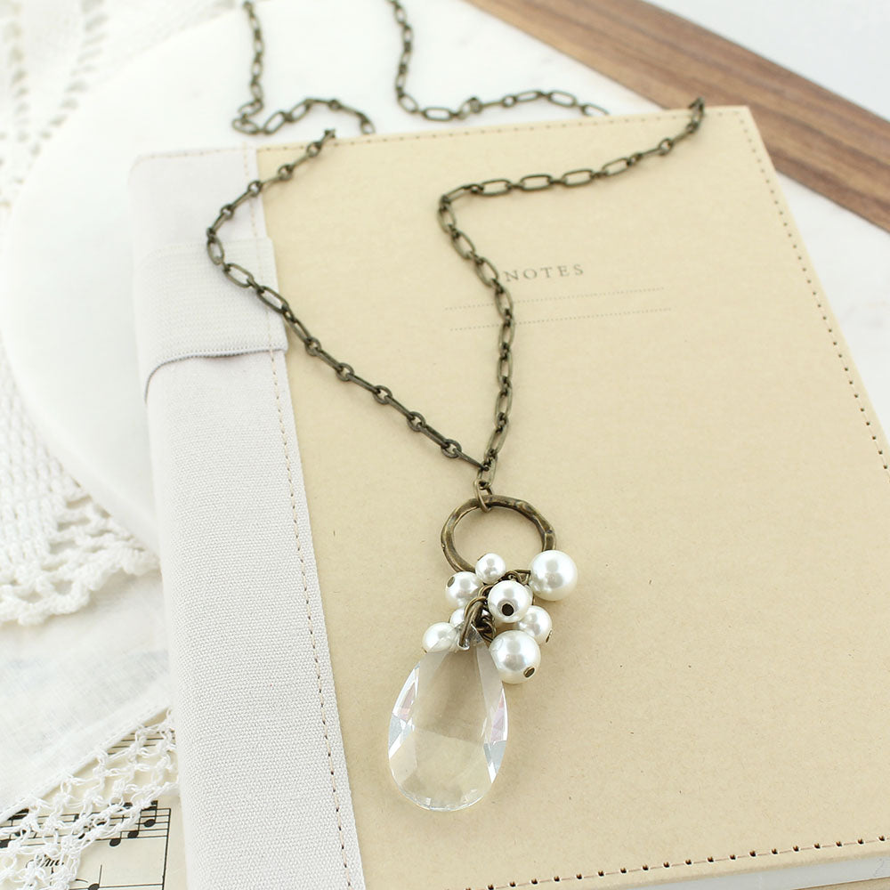"34"" Vintage Style Necklace w/ Pearl Cluster & Teardrop Crystal"