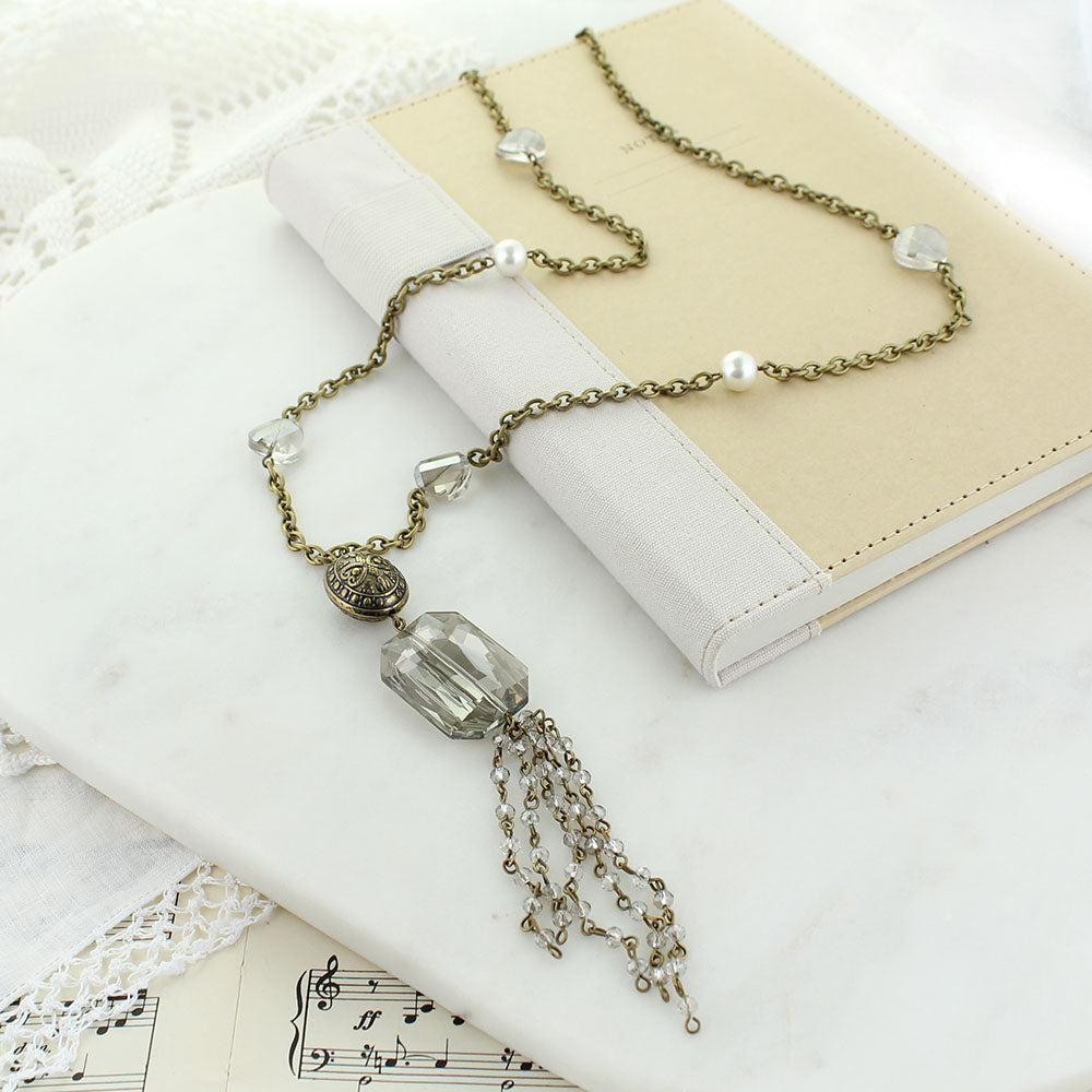 "34"" Vintage Style Chain Necklace w/ Pearls & Gray Crystals"