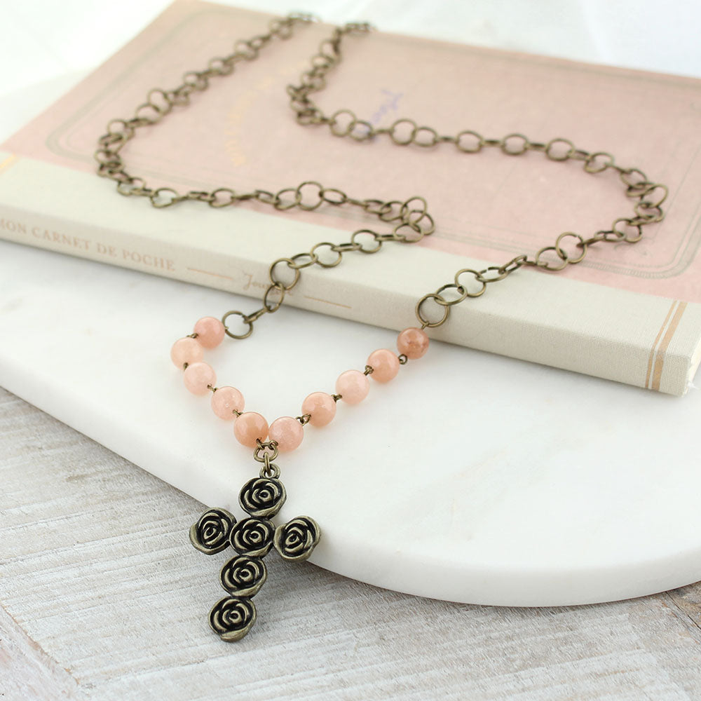 "37"" Vintage Style Rose Cross & Pink Stone Necklace"