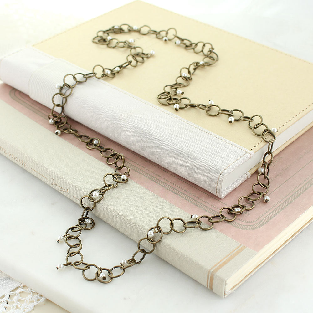 "32"" Vintage Chain Necklace w/ Tiny Pearls"