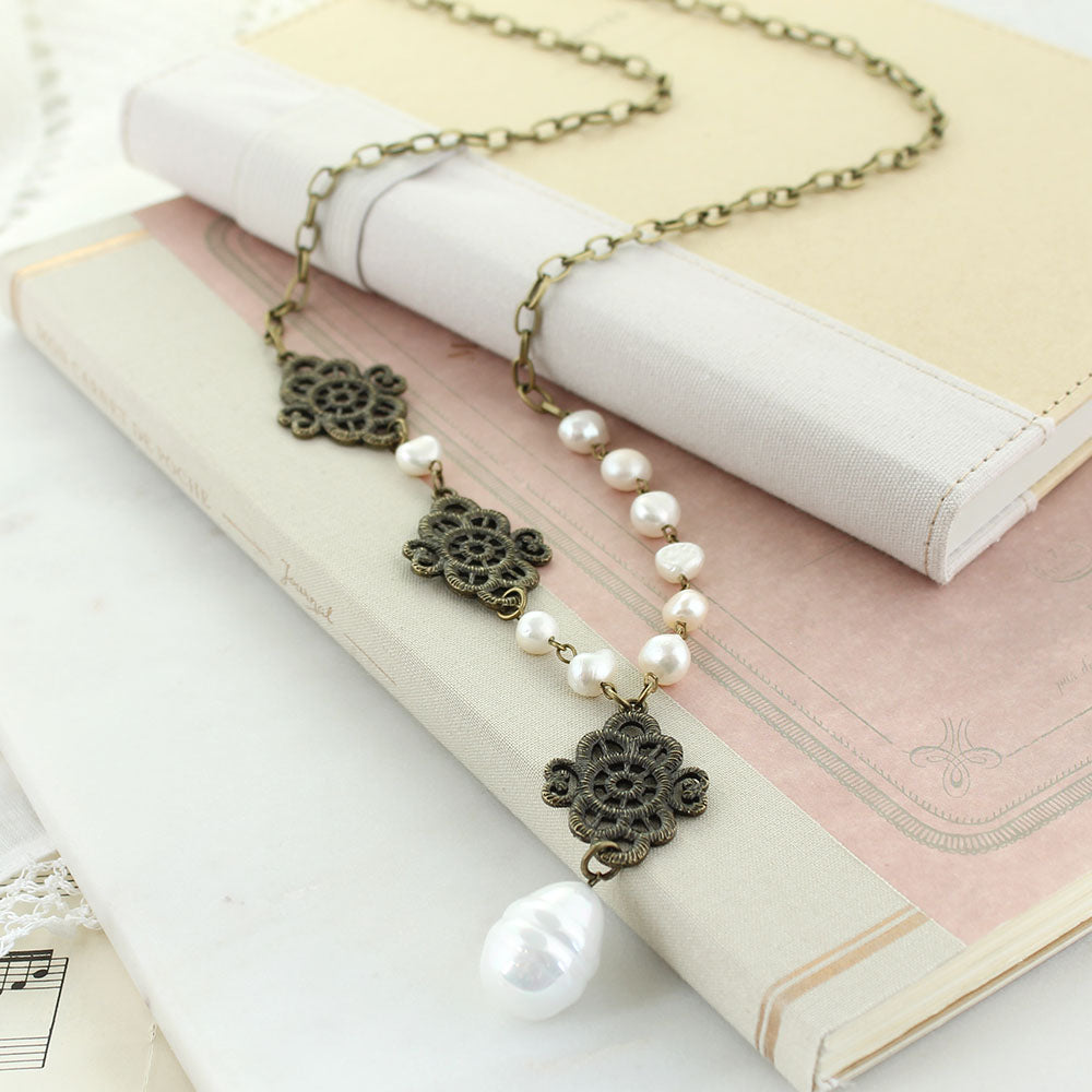 "32"" Filagree Chain Necklace w/ Baroque Pearls"