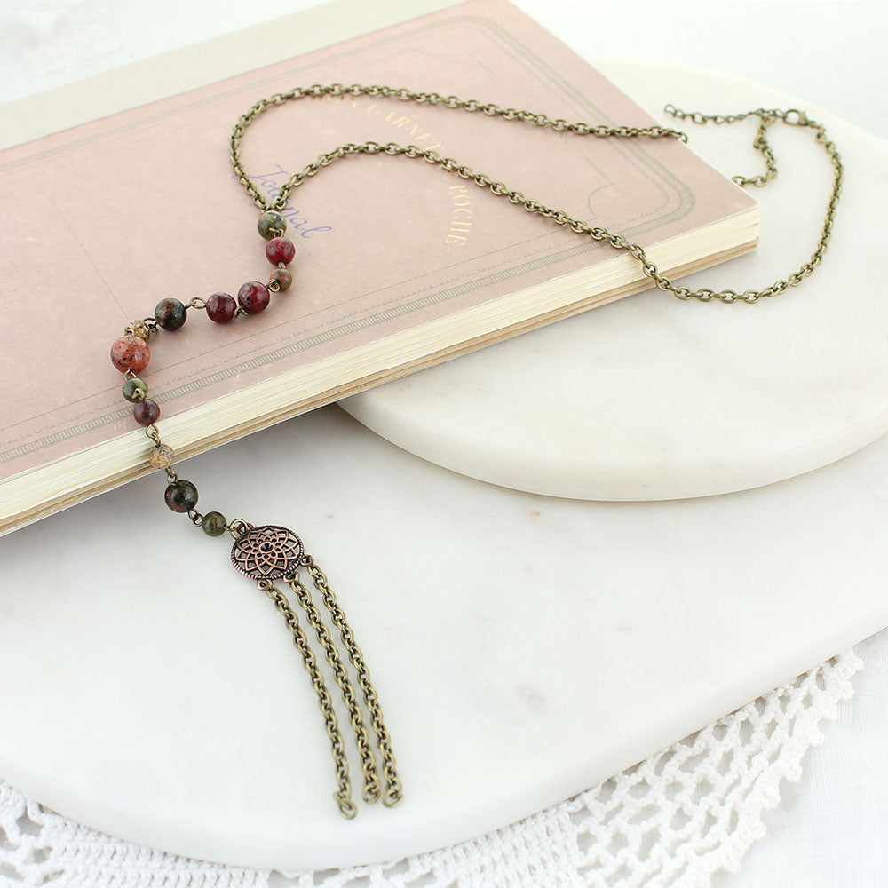 "22"" Vintage, Copper & Stone Long Y Necklace (10"" Drop & Tassel)"