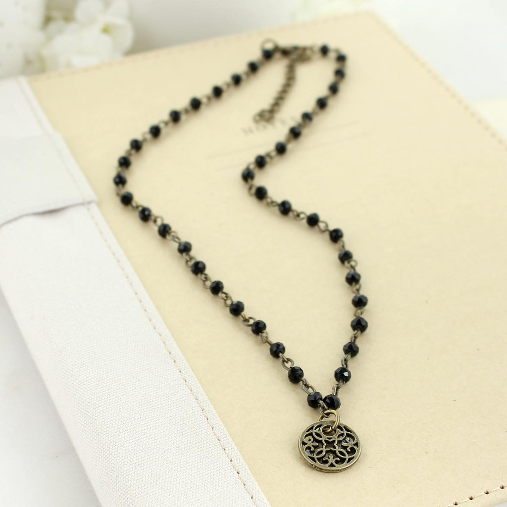 "16 - 18"" Black Crystal Necklace"