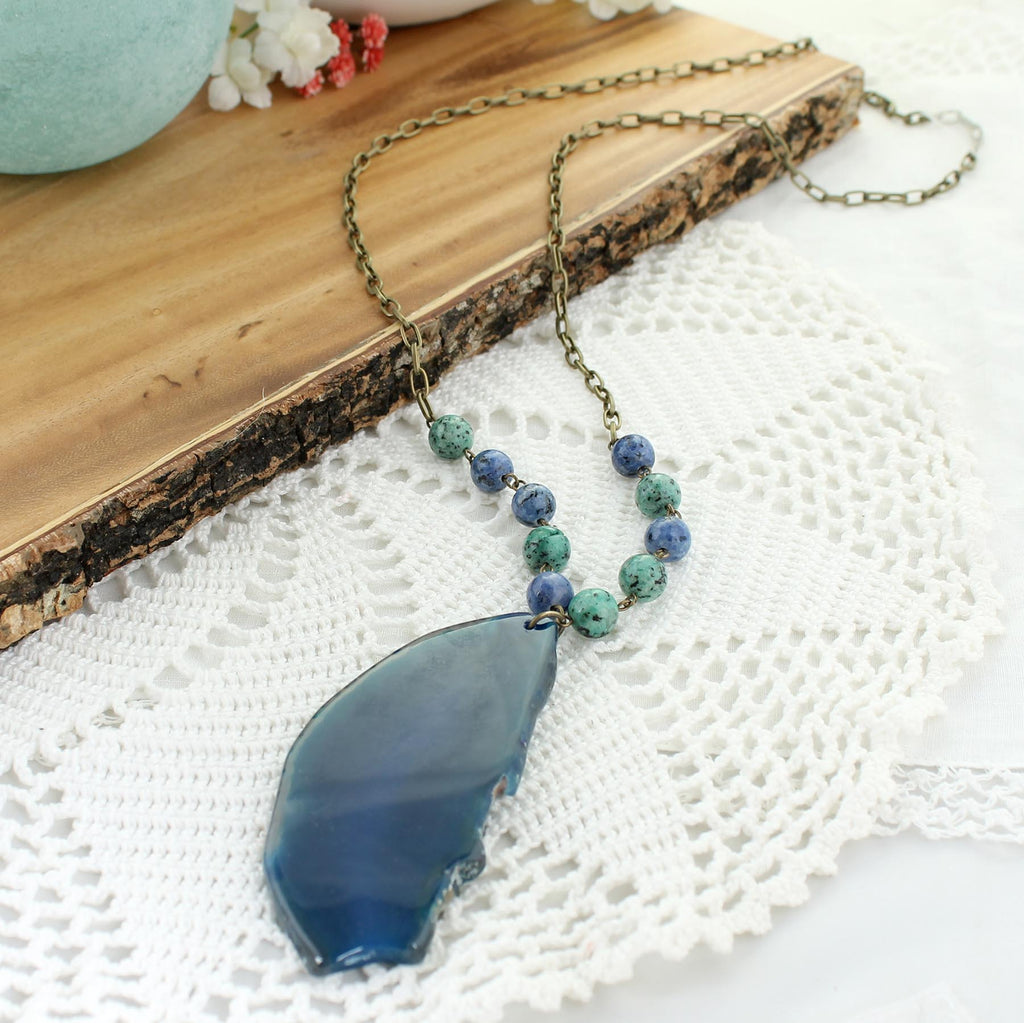 "36"" Dark Blue Agate Necklace"