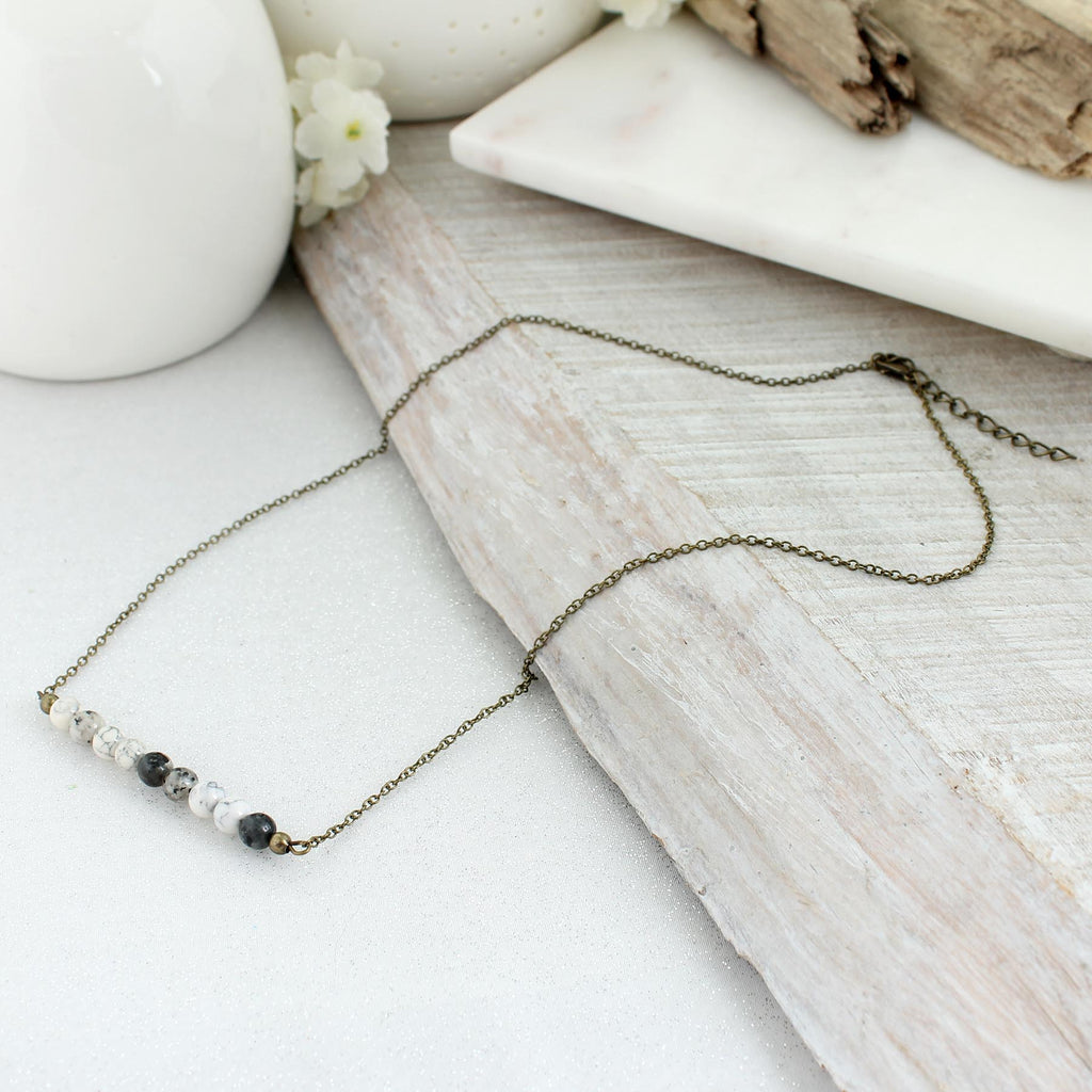 "21 - 23"" Gray Stone Bead Bar Necklace"