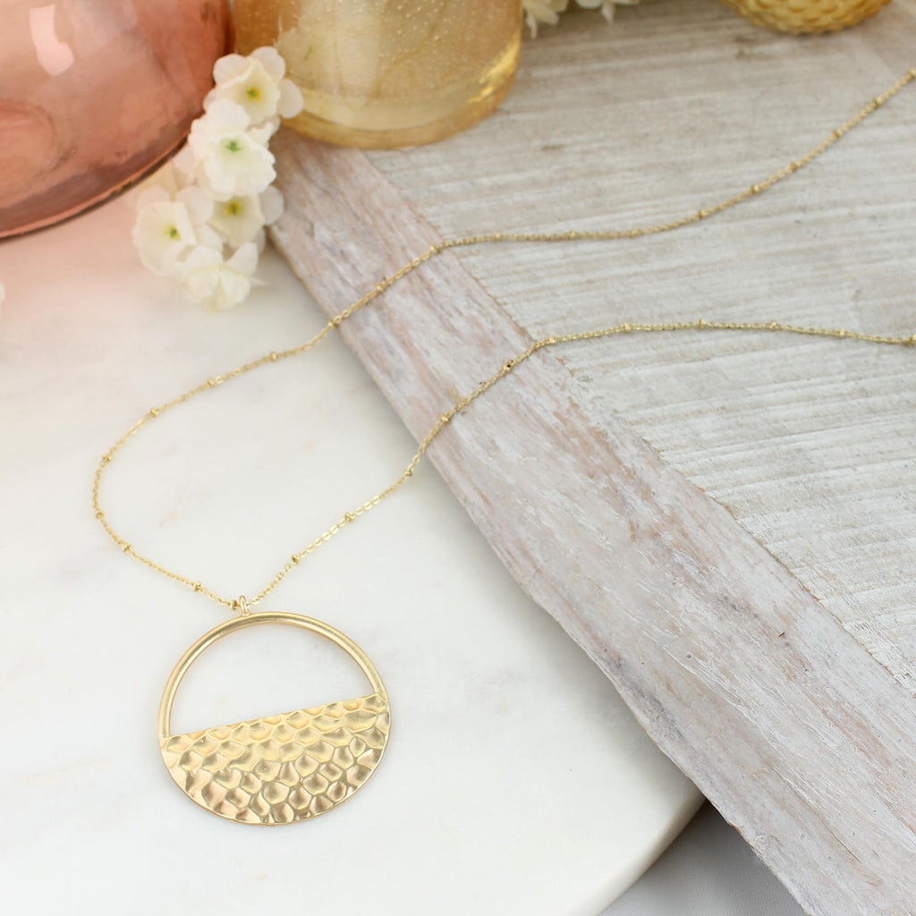 "34"" Matte Gold Hammered Semi-Circle Pendant Necklace"
