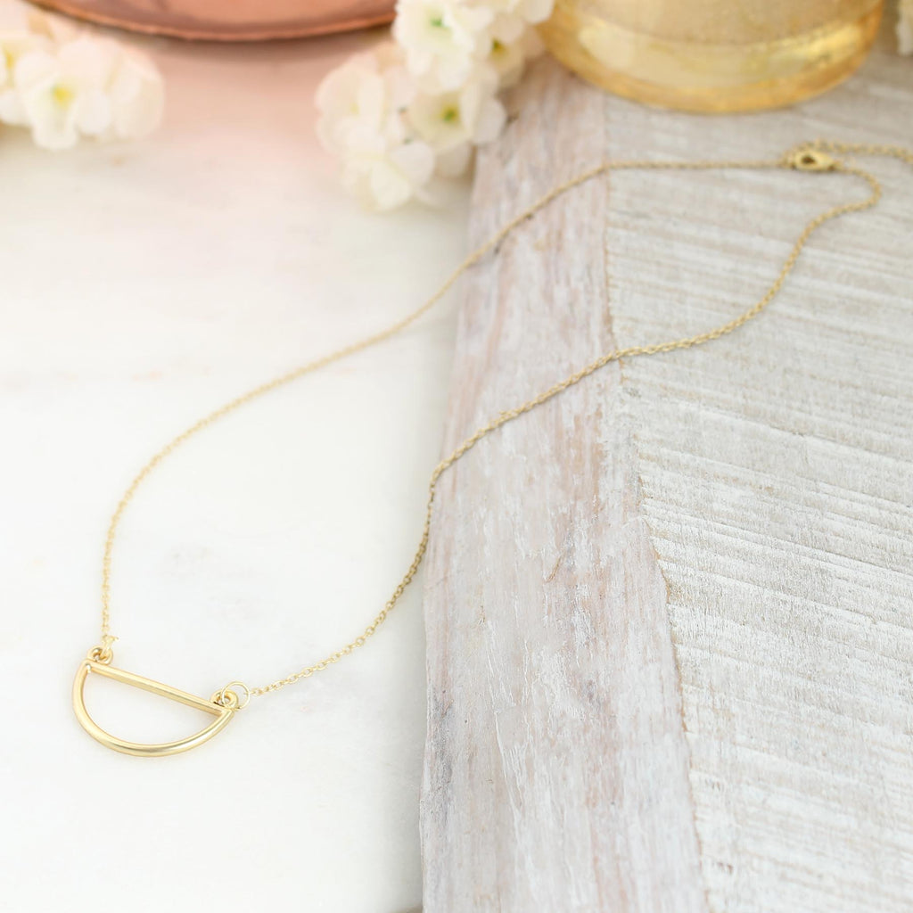 "17"" Matte Gold Semi-Circle Necklace"