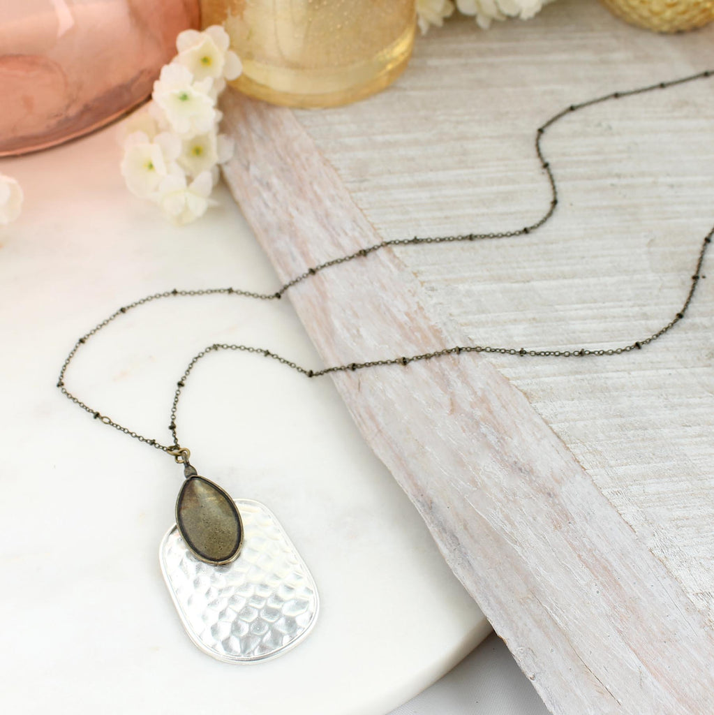 "34"" Vintage & Matte Silver Hammered Pendant Necklace"