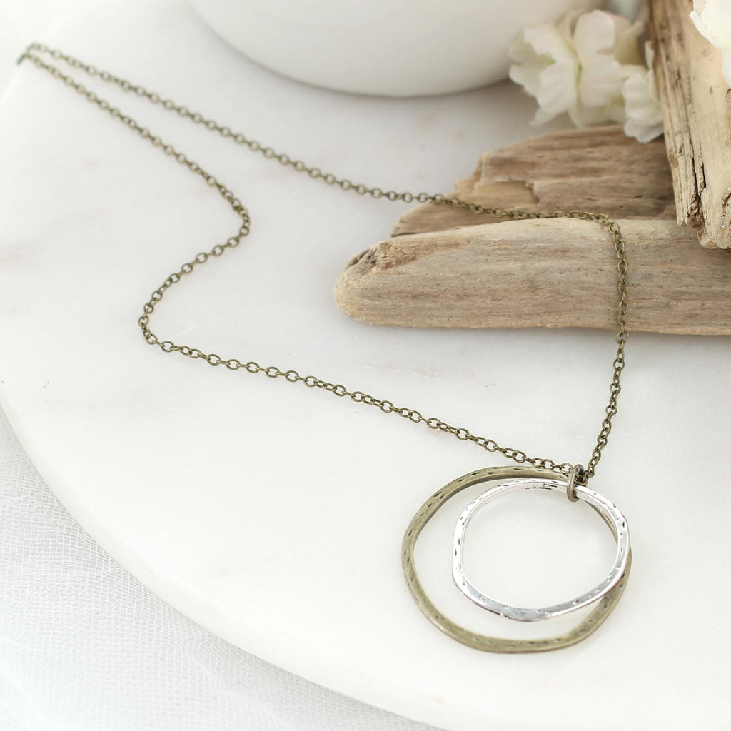 "16 - 18"" Mixed Metal Layered Loop Necklace"