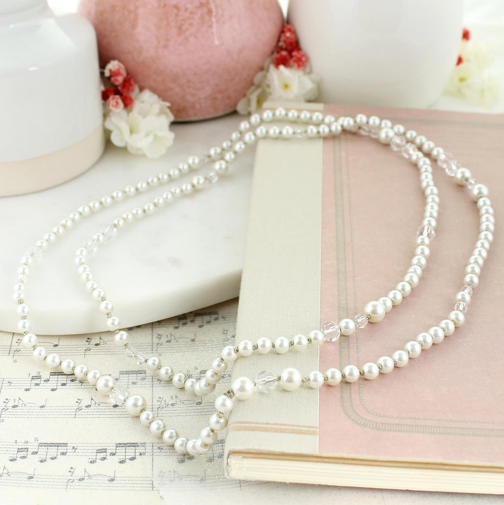 "50"" Knotted Pearl & Crystal Necklace"