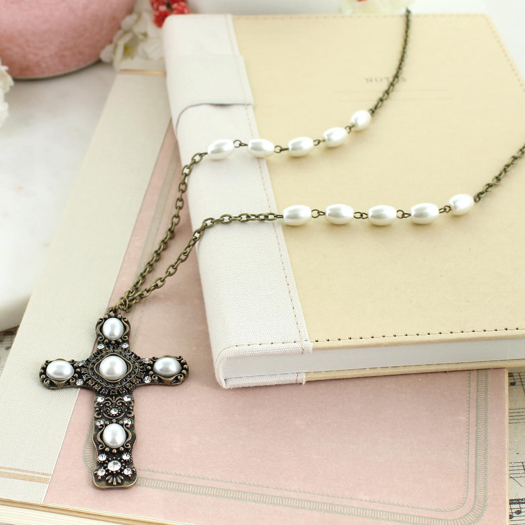 "36"" Vintage Style Pearl & Crystal Ornate Cross Necklace"
