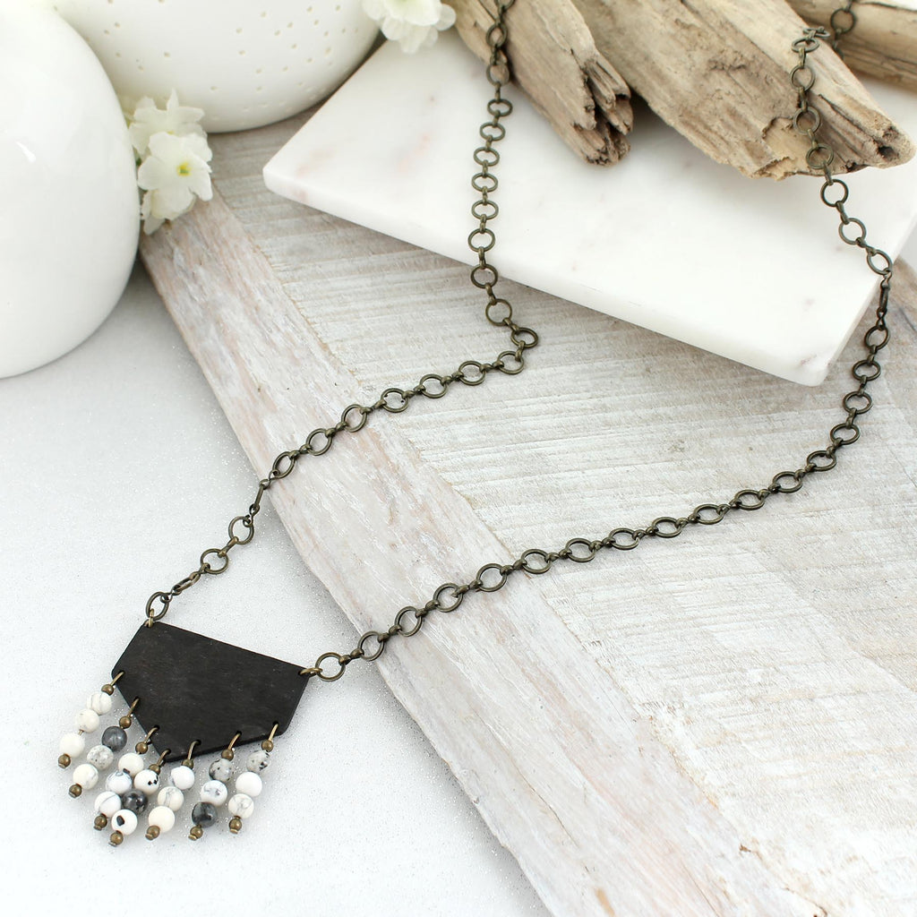 "36"" Dark Wood & Gray Stone Bead Necklace"