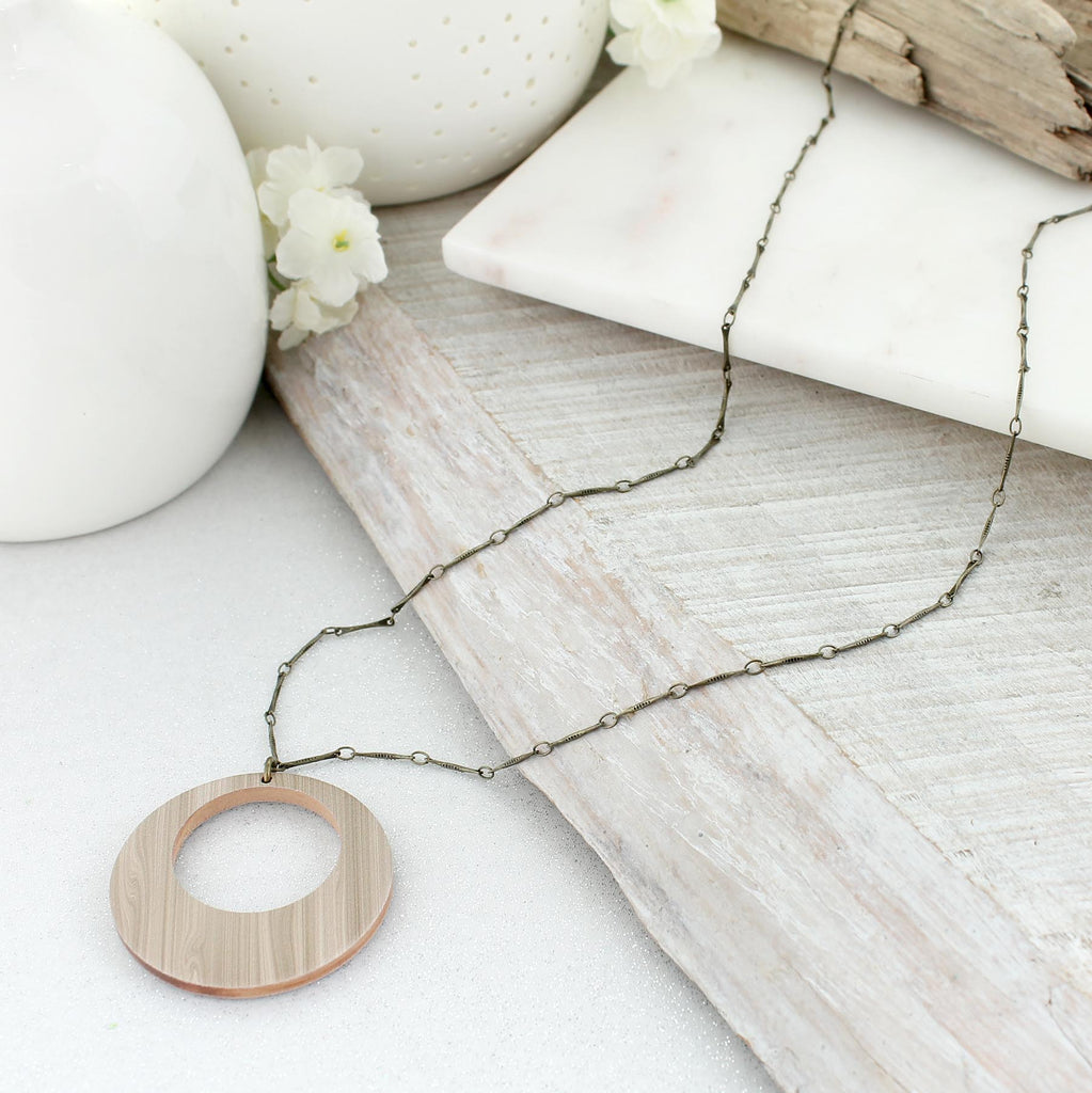 "34"" White Wash Wood Circle Necklace"