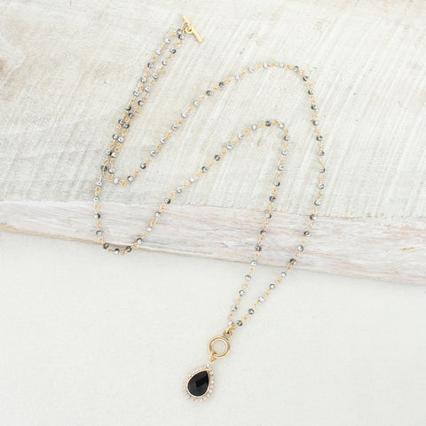 Gold & Gray Crystal Convertible Necklace