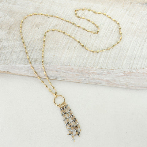 Gold & Gray Crystal Waterfall Necklace