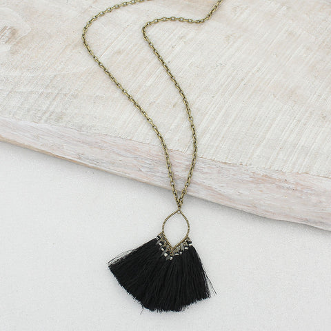 Black Fringe Tassel Necklace