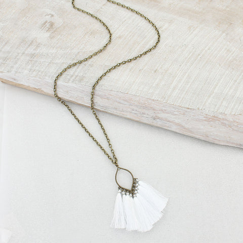 White Fringe Tassel Necklace