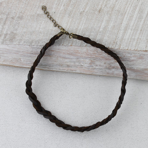 Dark Brown Braided Leather Choker