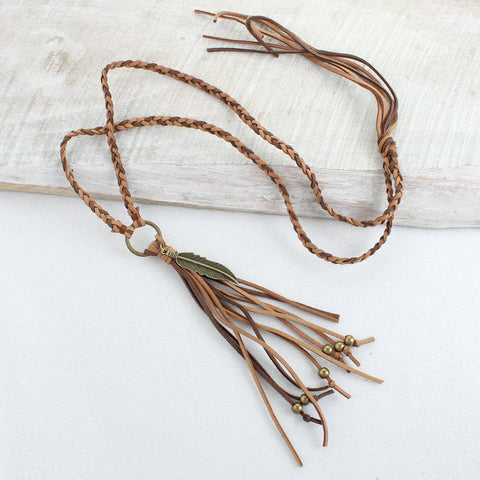 Two-Tone Brown Braided Leather & Tassel Necklace