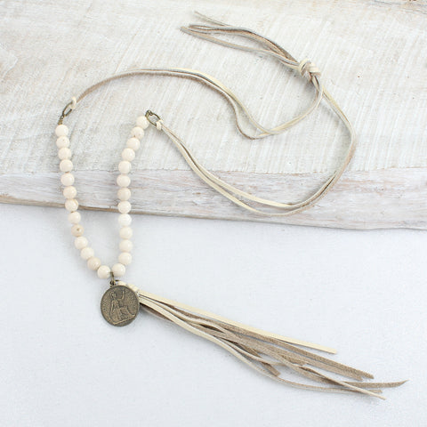 Cream Leather Tassel, Stone & Coin Necklace