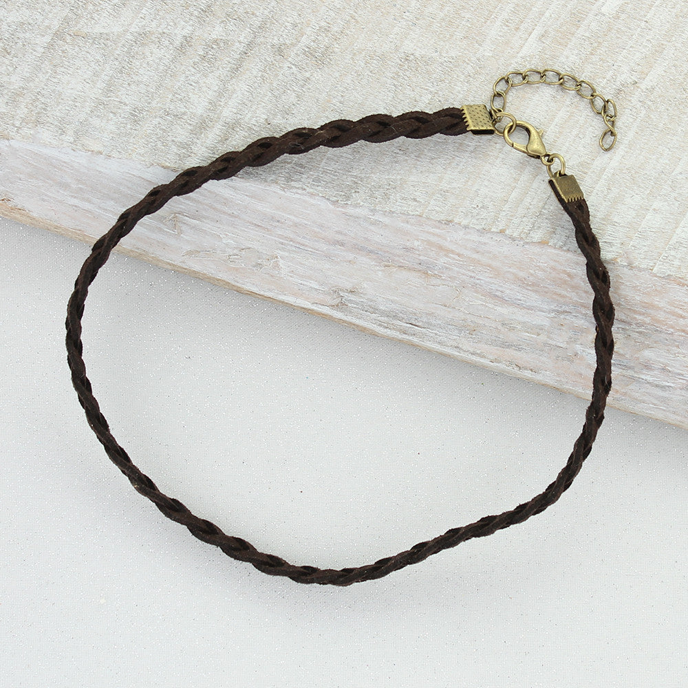 Thin Dark Brown Braided Leather Choker