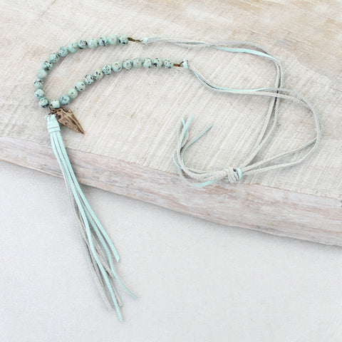 Seafoam Leather Tassel, Stone & Arrowhead Necklace