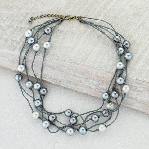 Gray Cord & Gray Pearl Multi Strand Necklace