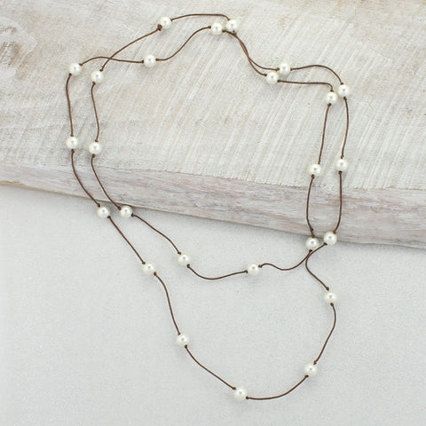 Brown Cord & White Pearl Necklace