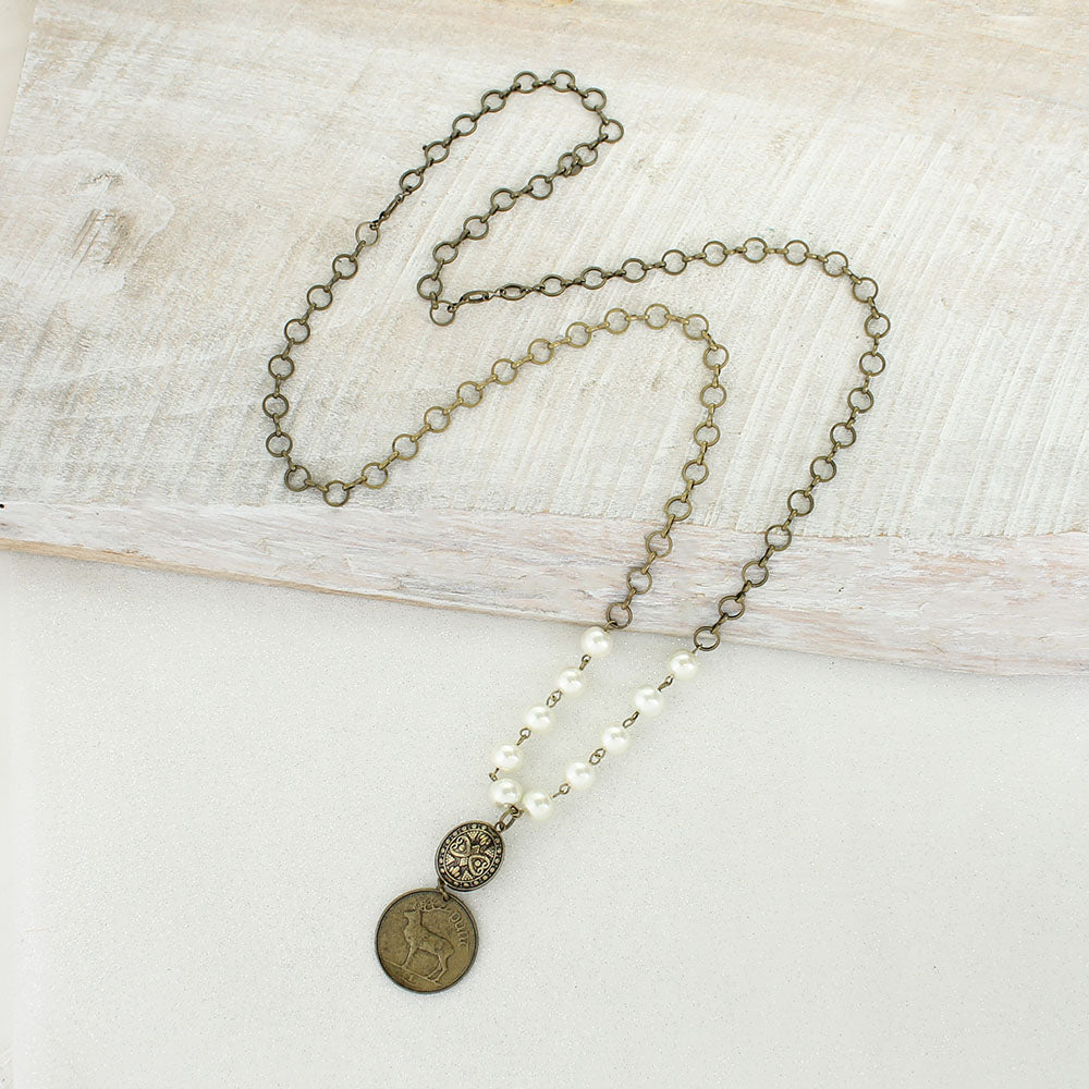 Vintage Style Pearl & Coin Necklace