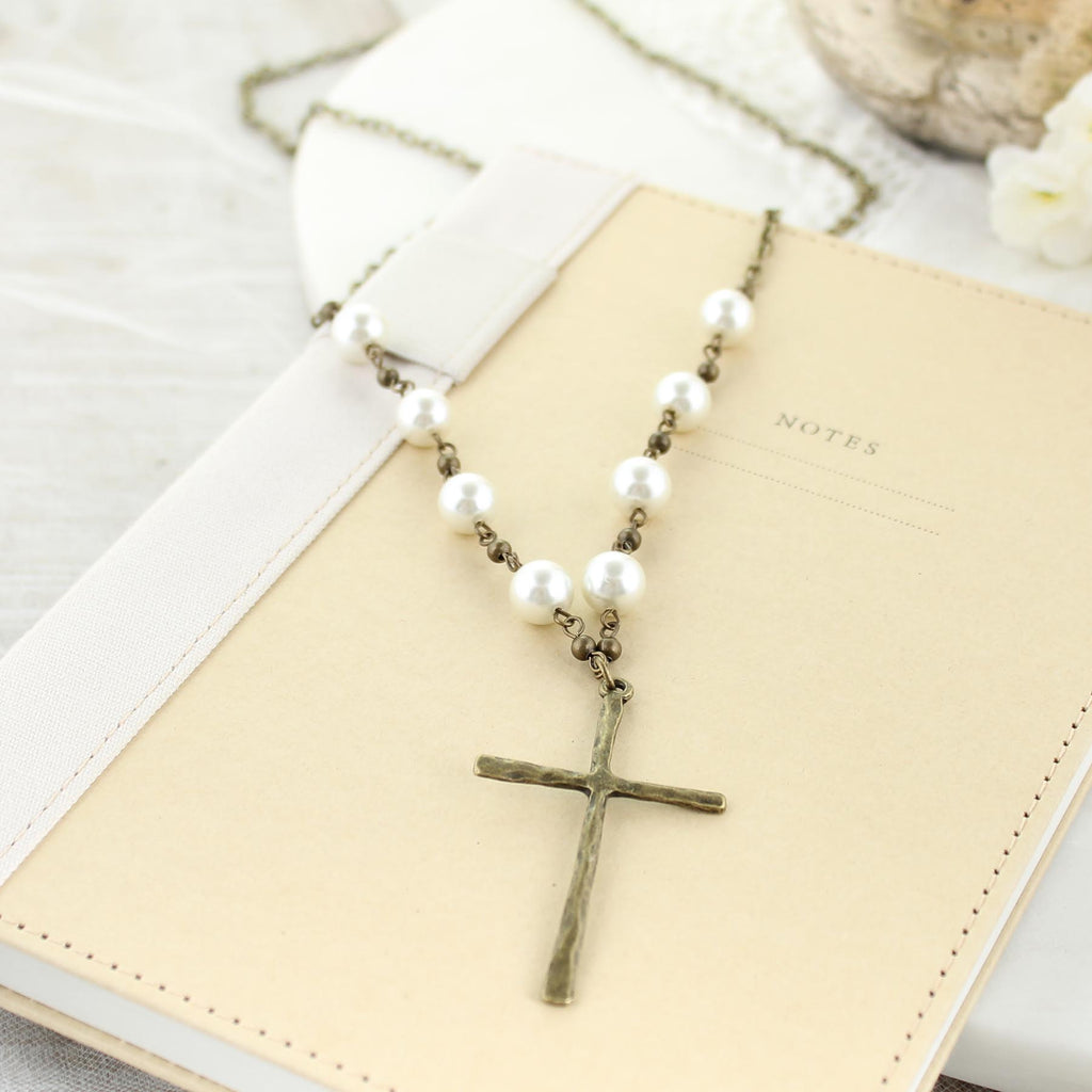 "36"" Vintage Style Rustic Cross Necklace w/ Pearls"