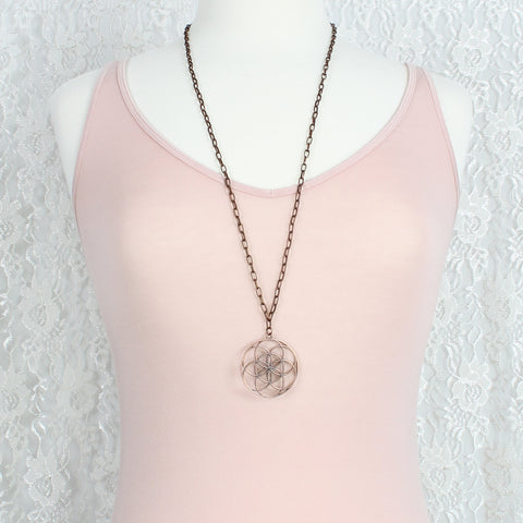 Copper Chain & Medallion Necklace