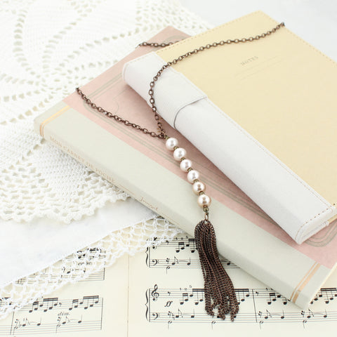 "Pink Ombre Pearl & Copper Tassel 30"" Necklace"