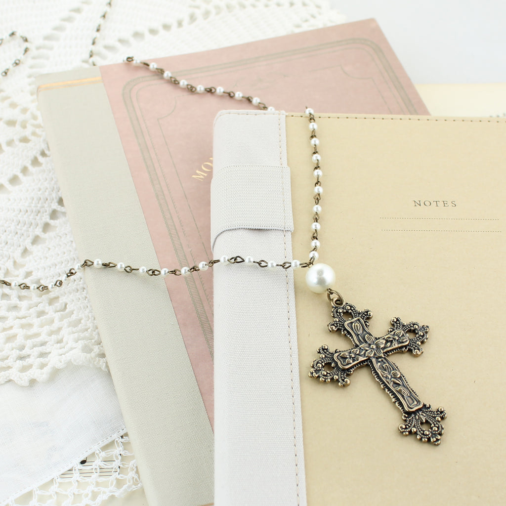 "Vintage Style Floral Cross & Pearl 36"" Necklace"