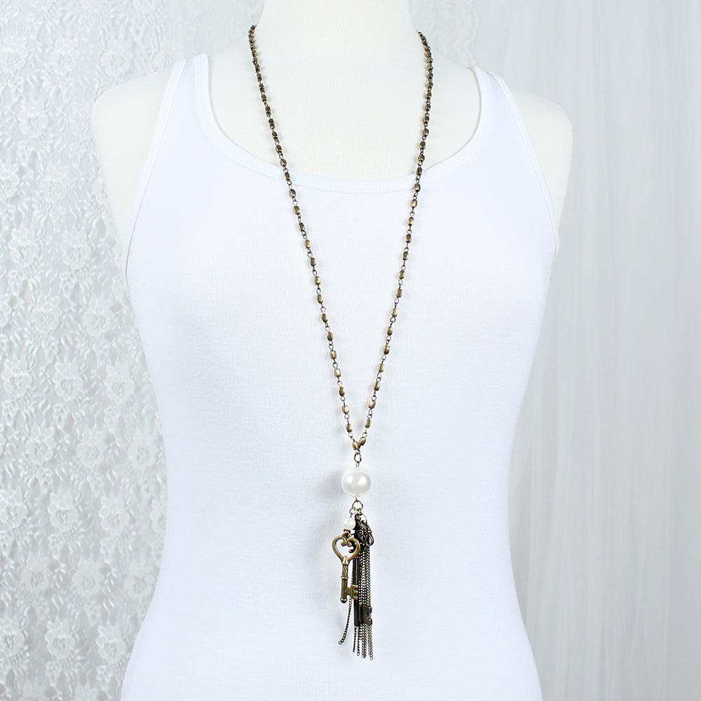 "Vintage Style Key Cluster 36"" Necklace"