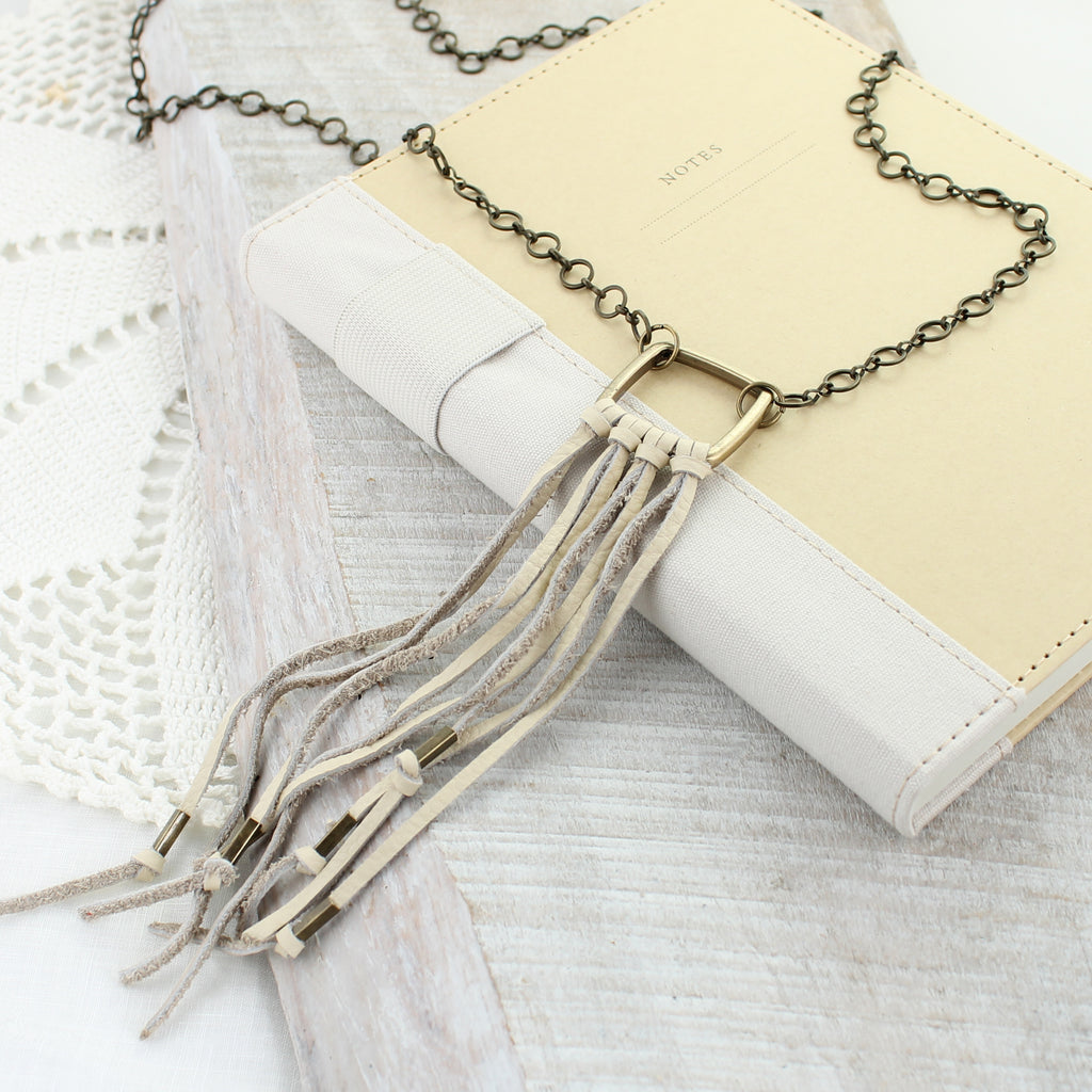 Natural Leather Tassel Necklace
