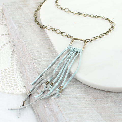 Seafoam Leather Tassel Necklace