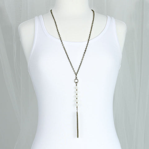 "Vintage Style Tassel & Pearl Drop 30"" Necklace"