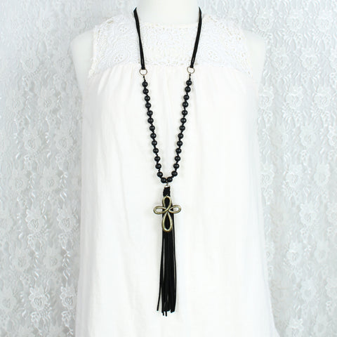"Black Suede Tassel & Wood Bead 38"" Necklace w/ Cross"