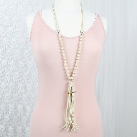 "Cream Suede Tassel & Wood Bead 38"" Necklace w/ Cross"