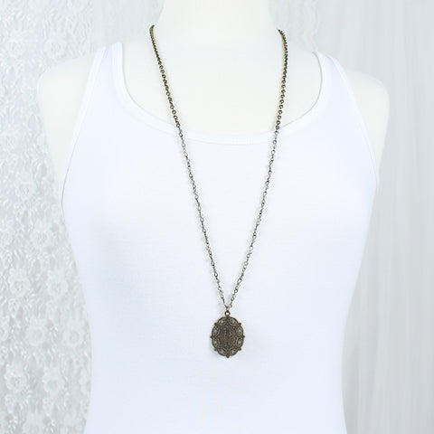 "Vintage Style Saint & Gray Crystal 34"" Necklace"