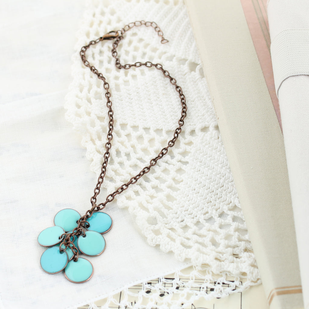 "Turquoise Enamel & Copper 14"" Necklace"