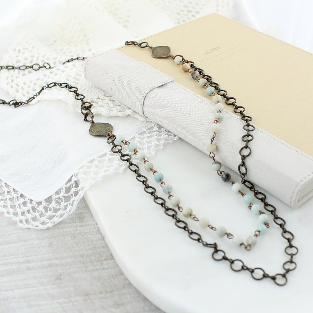 "Vintage Style Chain & Stone Bead Double Layer 38"" Necklace"