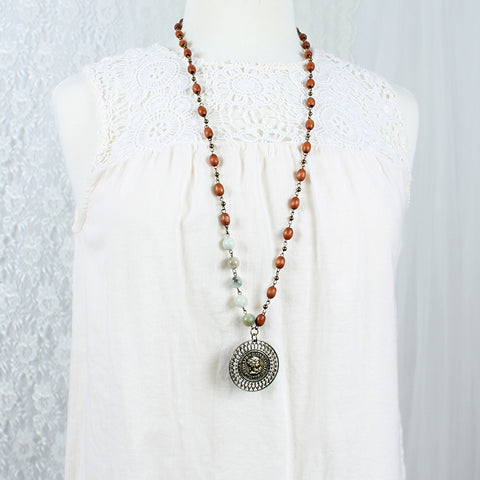 "Stone & Wood Bead 34"" Necklace w/ Medallion"